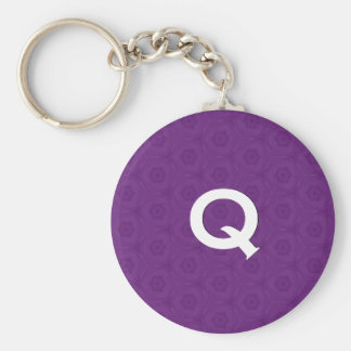 Monogram Q or Any Initial Purple 3D Effect C311 Basic Round Button Key Ring