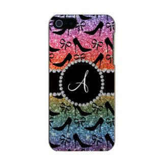 Monogram rainbow glitter black high heels bow incipio feather® shine iPhone 5 case
