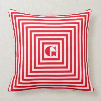Monogram Red and White Squares Cushion