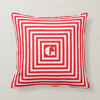 Monogram Red and White Squares Throw Pillow