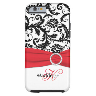 Monogram Red, Black, White Damask Vibe iPhone 6 ca Tough iPhone 6 Case