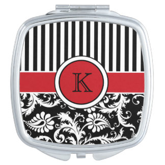 Monogram Red, Black, White Striped Damask Compact Mirrors For Makeup