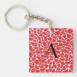 Monogram red giraffe print acrylic key chain
