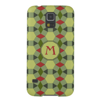 Monogram red green grey tiles case for galaxy s5
