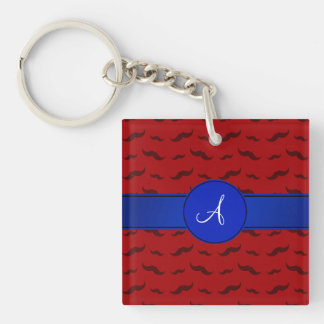 Monogram red mustaches blue circle acrylic keychain