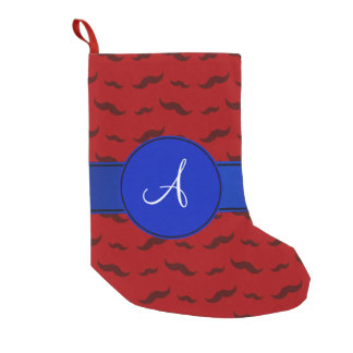 Monogram red mustaches blue circle small christmas stocking