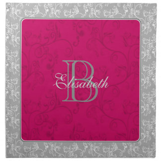 Monogram Red Soft Modern Damask Napkin