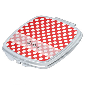 Monogram Red White Trendy Fun Polka Dot Pattern Vanity Mirrors