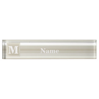 Monogram sandstone stripes nameplates
