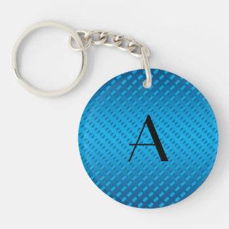 Monogram shiny blue polka dots keychains