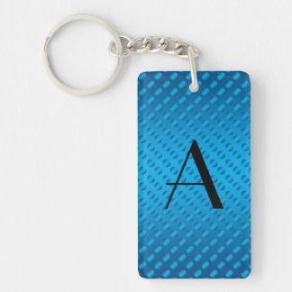 Monogram shiny blue polka dots acrylic key chains