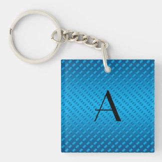 Monogram shiny blue polka dots square acrylic keychains