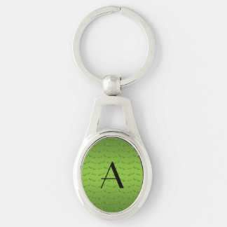 Monogram shiny green mustache pattern key chain