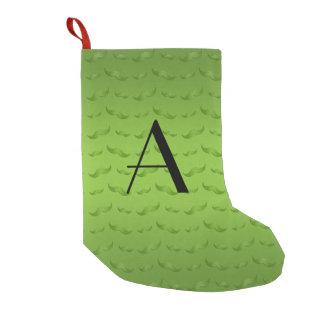 Monogram shiny green mustache pattern small christmas stocking