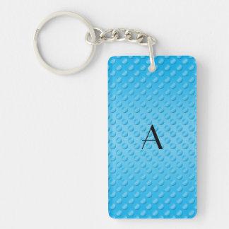 Monogram shiny light blue polka dots acrylic keychain