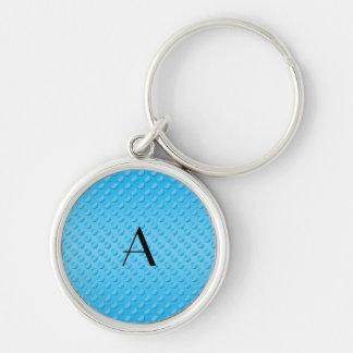 Monogram shiny light blue polka dots keychain