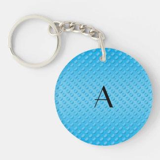 Monogram shiny light blue polka dots acrylic key chains