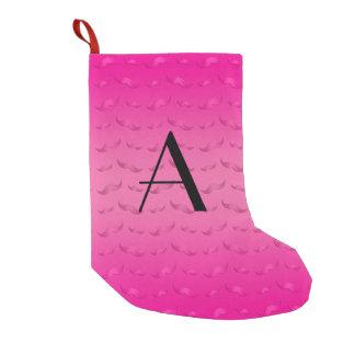 Monogram shiny pink mustache pattern small christmas stocking