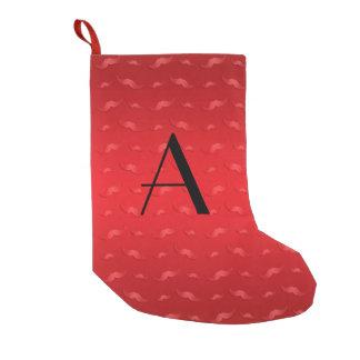Monogram shiny red mustache pattern small christmas stocking