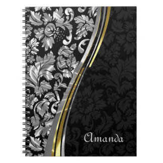 Monogram Silver Gray And Black Damask Spiral Notebook