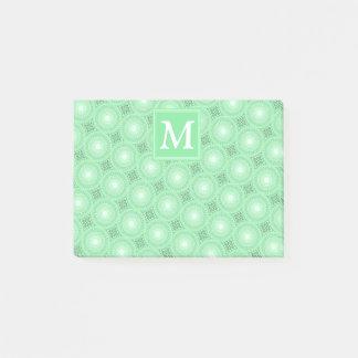 Monogram spring green circles pattern post-it notes