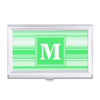 Monogram spring green stripes business card holder