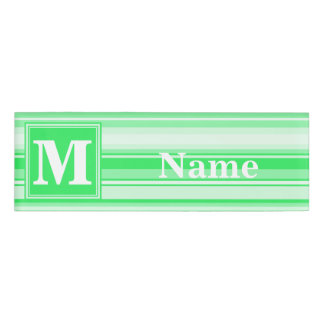 Monogram spring green stripes name tag