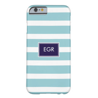 Monogram Stripes iPhone 6 case (Aqua/Navy) Barely There iPhone 6 Case