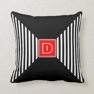 Monogram Stripes White and Black Throw Pillow
