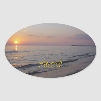 Monogram Sunset Beach Waves, Serene and Peaceful Oval Sticker