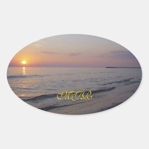 Monogram Sunset Beach Waves, Serene and Peaceful Stickers