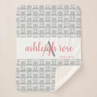 Monogram, sweet heart geometric grey/white/pink sherpa blanket