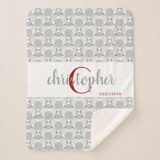 Monogram, sweet heart geometric grey/white/red sherpa blanket