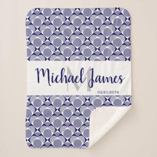 Monogram, sweet heart geometric navy blue/white sherpa blanket