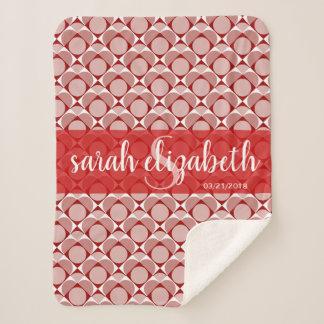 Monogram, sweet heart geometric red & white sherpa blanket
