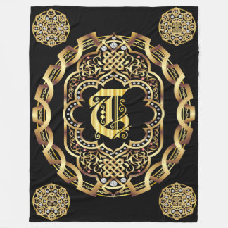 Monogram T CUSTOMIZE To Change Background Color Fleece Blanket
