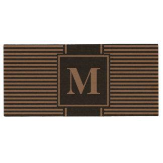 Monogram Taupe Brown/Black Pinstripes Wood USB 2.0 Flash Drive
