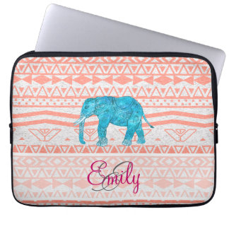 Monogram Teal Paisley Elephant Pink Aztec Pattern Laptop Sleeve