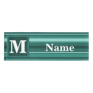 Monogram teal stripes