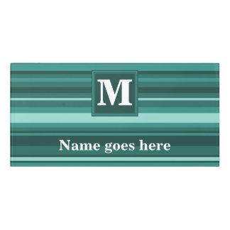 Monogram teal stripes door sign