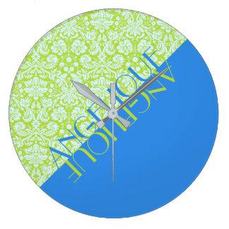 Monogram Trendy Resort Fashion Lime Green Blue Large Clock