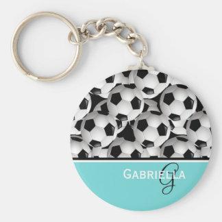 Monogram Turquoise  Black Soccer Ball Pattern Key Ring