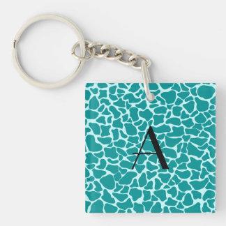Monogram turquoise giraffe print acrylic key chain