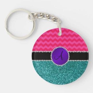 Monogram turquoise glitter hot pink chevrons acrylic keychains
