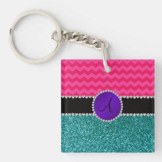 Monogram turquoise glitter hot pink chevrons square acrylic key chain
