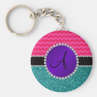 Monogram turquoise glitter hot pink chevrons key chain