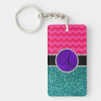 Monogram turquoise glitter hot pink chevrons acrylic key chain