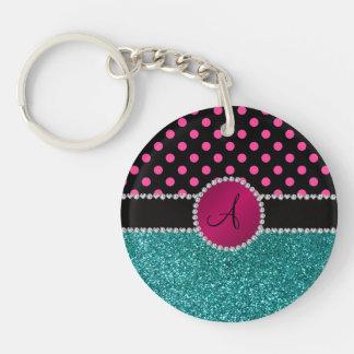 Monogram turquoise glitter pink black dots keychains
