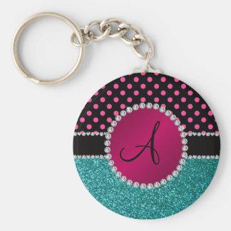 Monogram turquoise glitter pink black dots key chain