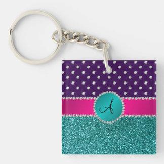 Monogram turquoise glitter purple diamonds acrylic keychain